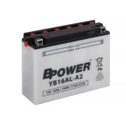 AKUMULATOR 16AH 12V 200A MOTOCYKLOWY + ELEKTROLIT PRAWY + EXIDE YB16AL-A2