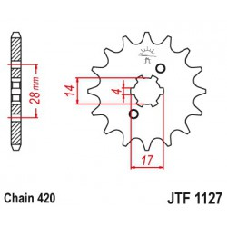ZĘBATKA NAPĘDOWA PRZÓD MOTOCYKLOWA STALOWA JTF1127.12
