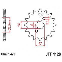 ZĘBATKA NAPĘDOWA PRZÓD MOTOCYKLOWA STALOWA JTF1128.14