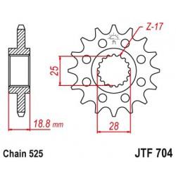 ZĘBATKA NAPĘDOWA Z TŁUMIKIEM DRGAŃ PRZÓD MOTOCYKLOWA STALOWA JTF704.16RB