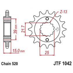 ZĘBATKA NAPĘDOWA PRZÓD MOTOCYKLOWA STALOWA JTF1042.15