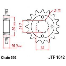 ZĘBATKA NAPĘDOWA PRZÓD MOTOCYKLOWA STALOWA JTF1042.16