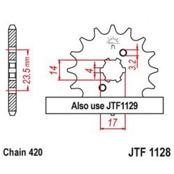 ZĘBATKA NAPĘDOWA PRZÓD MOTOCYKLOWA STALOWA JTF1128.12