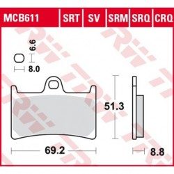 KLOCKI HAMULCOWE MOTOCYKL HYPER-CARBON YAMAHA YZF 600 R6 08-16 YAMAHA YZF 1000 R1 04-06 TRW MCB611CRQ