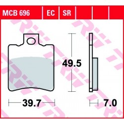 KLOCKI HAMULCOWE MOTOCYKL ORGANIC GILERA 50 RUNNER SP 98-05 PIAGGIO 50 STORM 94-95 TRW MCB696EC
