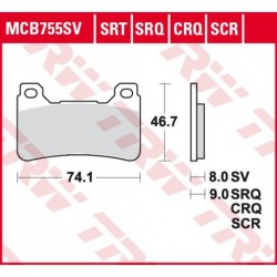 KLOCKI HAMULCOWE MOTOCYKL HYPER-CARBON HONDA CBR 1000 RR FIREBLADE 08-16 TRW MCB755CRQ