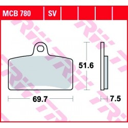 KLOCKI HAMULCOWE MOTOCYKL ORGANIC DERBI GPR 50 2T 09- TRW MCB780