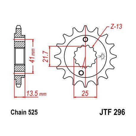 ZĘBATKA NAPĘDOWA PRZÓD MOTOCYKLOWA STALOWA JTF296.15