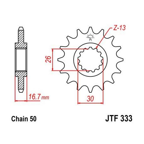 ZĘBATKA NAPĘDOWA PRZÓD MOTOCYKLOWA STALOWA JTF333.15
