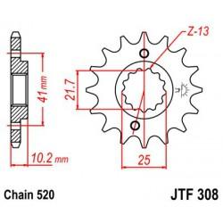 ZĘBATKA NAPĘDOWA PRZÓD MOTOCYKLOWA STALOWA JTF308.15