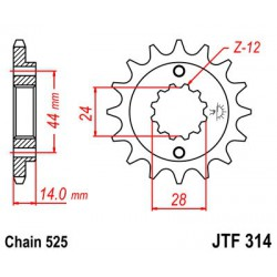 ZĘBATKA NAPĘDOWA PRZÓD MOTOCYKLOWA STALOWA JTF314.15