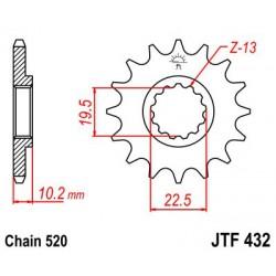 ZĘBATKA NAPĘDOWA PRZÓD MOTOCYKLOWA STALOWA JTF432.12