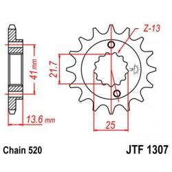 ZĘBATKA NAPĘDOWA PRZÓD MOTOCYKLOWA STALOWA JTF1307.14