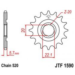ZĘBATKA NAPĘDOWA PRZÓD MOTOCYKLOWA STALOWA JTF1590.13SC
