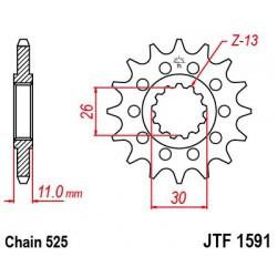 ZĘBATKA NAPĘDOWA PRZÓD MOTOCYKLOWA STALOWA JTF1591.16