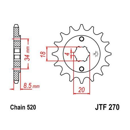 ZĘBATKA NAPĘDOWA PRZÓD MOTOCYKLOWA STALOWA JTF270.14