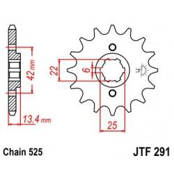 ZĘBATKA NAPĘDOWA PRZÓD MOTOCYKLOWA STALOWA JTF291.16
