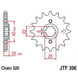 ZĘBATKA NAPĘDOWA PRZÓD MOTOCYKLOWA STALOWA JTF306.15