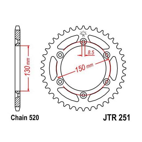 ZĘBATKA NAPĘDZANA TYŁ MOTOCYKLOWA STALOWA JTR251.50