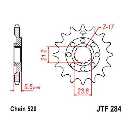 ZĘBATKA NAPĘDOWA PRZÓD MOTOCYKLOWA STALOWA JTF284.14SC