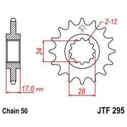 ZĘBATKA NAPĘDOWA PRZÓD MOTOCYKLOWA STALOWA JTF295.15