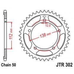 ZĘBATKA NAPĘDZANA TYŁ MOTOCYKLOWA STALOWA JTR302.43