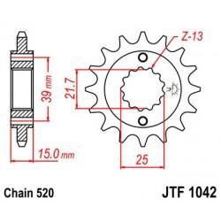 ZĘBATKA NAPĘDOWA PRZÓD MOTOCYKLOWA STALOWA JTF1042.14