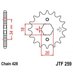 ZĘBATKA NAPĘDOWA PRZÓD MOTOCYKLOWA STALOWA JTF259.15