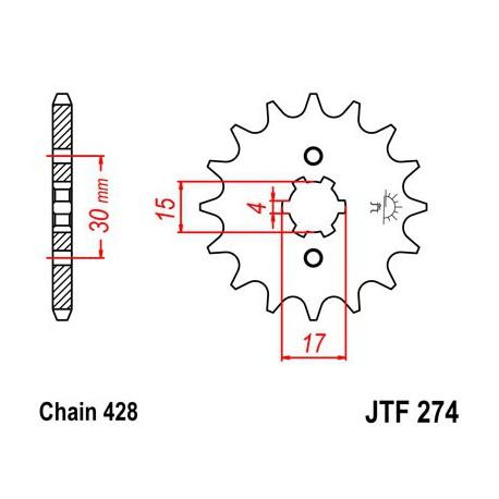 ZĘBATKA NAPĘDOWA PRZÓD MOTOCYKLOWA STALOWA JTF274.14