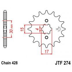 ZĘBATKA NAPĘDOWA PRZÓD MOTOCYKLOWA STALOWA JTF274.15