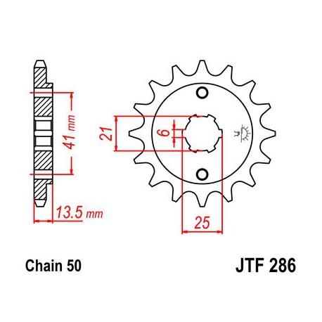 ZĘBATKA NAPĘDOWA PRZÓD MOTOCYKLOWA STALOWA JTF286.16