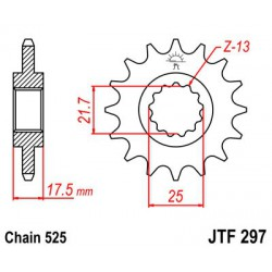 ZĘBATKA NAPĘDOWA PRZÓD MOTOCYKLOWA STALOWA JTF297.15