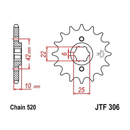 ZĘBATKA NAPĘDOWA PRZÓD MOTOCYKLOWA STALOWA JTF306.14
