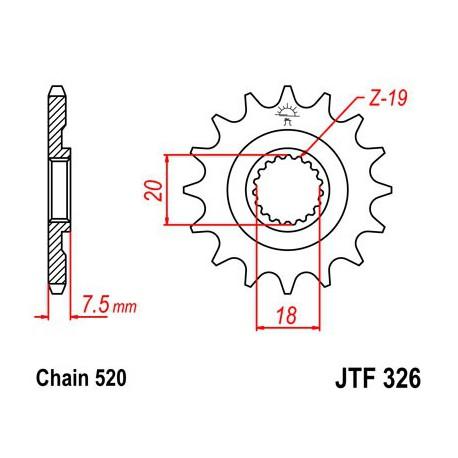 ZĘBATKA NAPĘDOWA PRZÓD MOTOCYKLOWA STALOWA JTF326.12