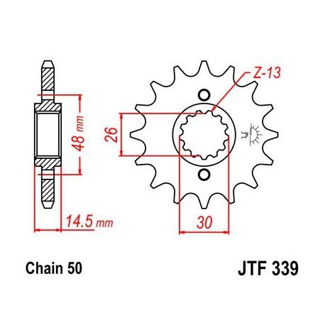 ZĘBATKA NAPĘDOWA PRZÓD MOTOCYKLOWA STALOWA JTF339.15