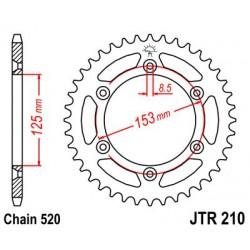 ZĘBATKA NAPĘDZANA TYŁ MOTOCYKLOWA STALOWA JTR210.45
